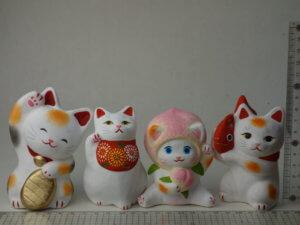 島根の招き猫工房ねこたちのサイズ
